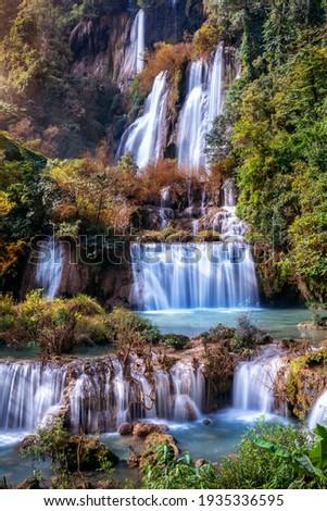Thi Lo Su waterfall(Tee Lor Su) in Tak province. Thi Lo Su waterfall the largest waterfall in Thailand. Stok fotoğraf ©