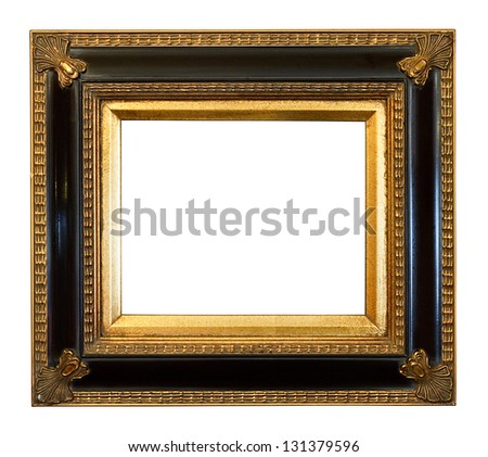 thick antique gold Gilded Picture Frame cut out on a white background - stock photo