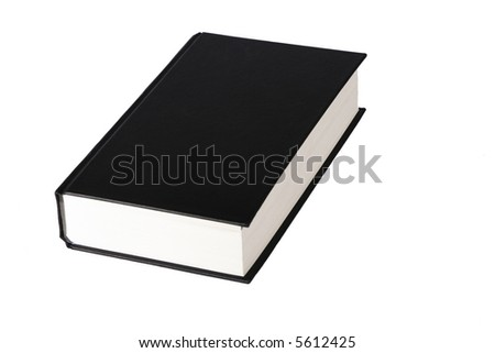 Thick Book With A Black Blank Cover On A White Background