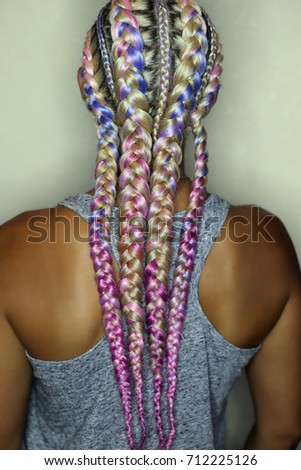thick boxer braids, blonde braided with pink kanekalon, very bea #712225126