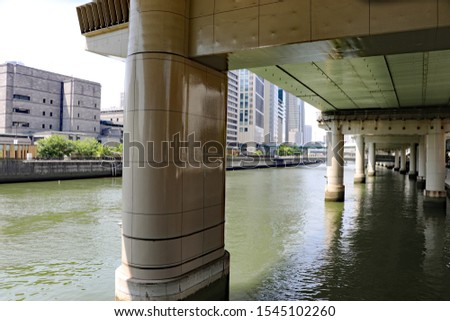 Thick bridge pier sinking in the river of the city #1545102260