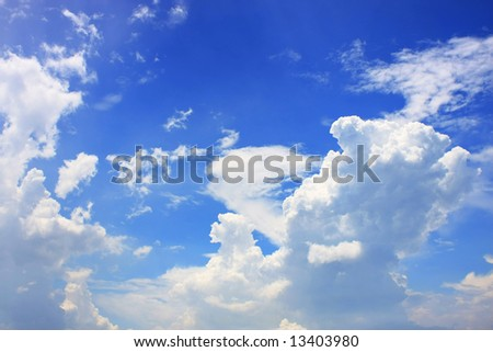 Thick cloud over blue sky on a sunny day.