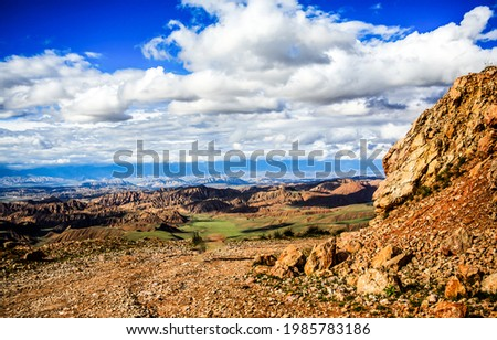 Thick clouds over a mountain valley. Mountain cloudy sky landscape. Mountain sky clouds