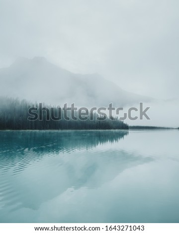 Thick, eerie fog creeping over pine trees with towering hazy mountains across the emerald water reflections of Emerald Lake  in Yoho National Park, BC, Canada. stock photo