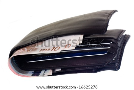 Thick fat wallet with Euro currency and credit cards isolated on white background