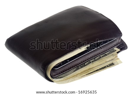 Thick fat wallet with US currency and credit cards isolated on white background