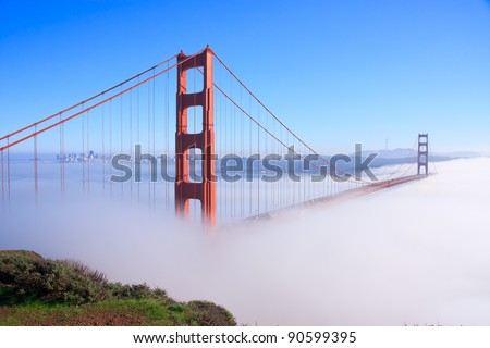 Thick fog covering Golden Gate Bridge