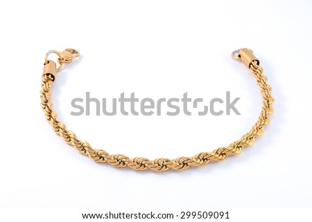 thick gold bracelet isolated on white