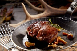 Thick juicy grilled wild venison steak served in a skillet with forest mushrooms and rosemary against a backdrop of shed antlers form deer