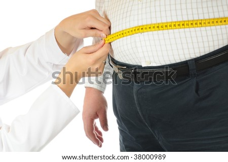 Thick man with tape measure