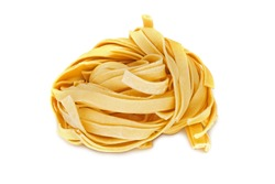 Thick Noodles, close up of asian food on white background