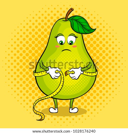 Thick pear measuring waist with tape pop art retro raster illustration. Cartoon food character. Color background. Comic book style imitation.