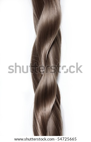 Thick plait from hair on a white background