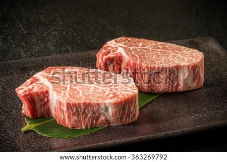 Thick slice Japanese beef marbled beef steak #363269792