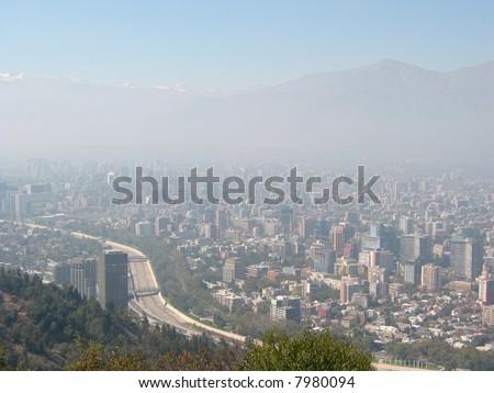 Thick smog over Santiago de Chile - stock photo