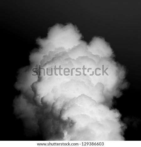thick white smoke on black background