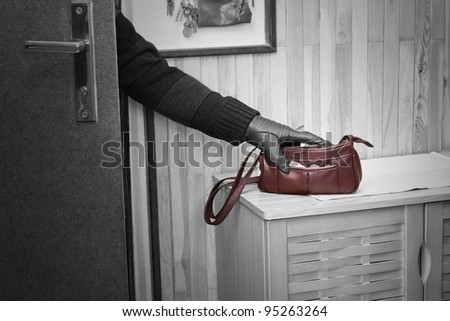 Thief breaking in doors and stealing a handbag.