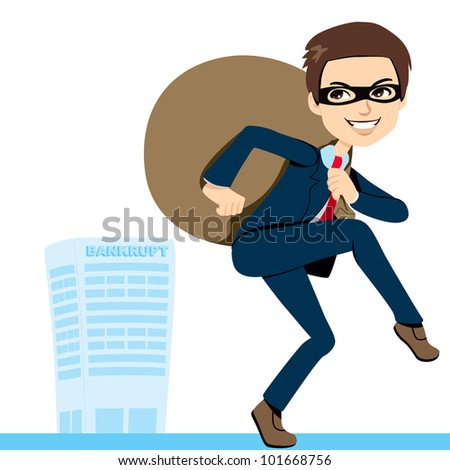 Thief Businessman in suit lifting heavy bag full of stolen profits leaving bankrupt company behind
