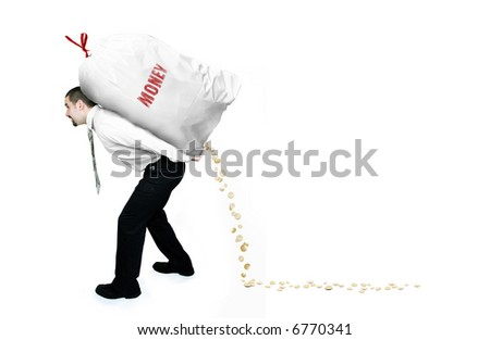 Thief Businessman lifting heavy bag with money on his back