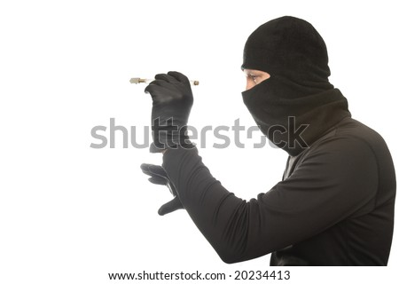 thief cuts glass on the isolated background
