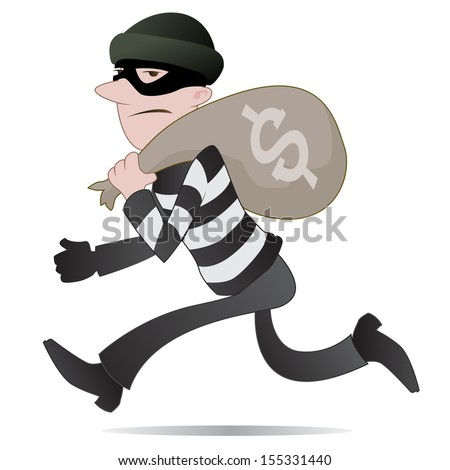Thief Running Away of a Burglar Running Away