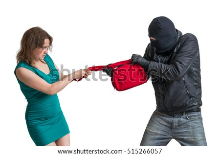 Thief is fighting with woman and stealing handbag. Isolated on white background. Сток-фото ©