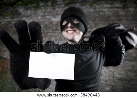 Thief showing his visit card, editable