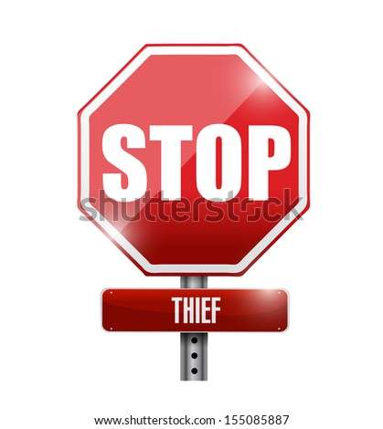 thief stop road sign illustration design over a white background
