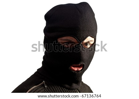 Thief wearing a ski mask isolated on white