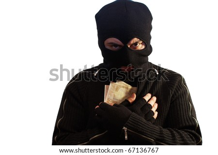 Thief wearing a ski mask isolated on white holding some euro banknotes