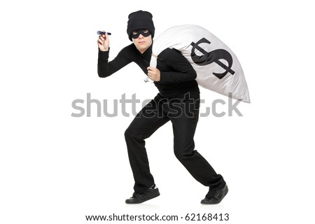 Thief with a bag and flashlight in hands isolated against white background