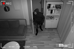 Thief With Crowbar Entering Into House Scene Through CCTV Camera