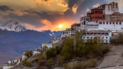 Thiksey Monastery, Thiksey Gompa Tibetan Buddhist monastery of the Yellow Hat, Ladakh, Jammu and Kashmir, India, Leh Ladakh , Famous place in Leh, Ladakh India.