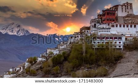 Thiksey Monastery, Thiksey Gompa Tibetan Buddhist monastery of the Yellow Hat, Ladakh, Jammu and Kashmir, India, Leh Ladakh , Famous place in Leh, Ladakh India. Foto stock ©