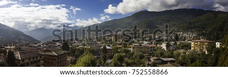 THIMPHU (BHUTAN) - OCTOBER 2017: Panoramic view of Thimphu in the early morning at sunrise.