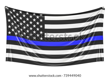 Thin Blue Line. Black Flag of USA with Police Blue Line hanging on the wall, 3D rendering
