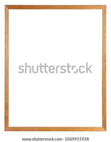 Thin brown wooden picture frame isolated on white background