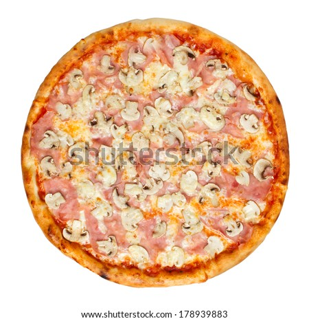 Thin crust Italian pizza with tomato sauce, cheese, ham and mushrooms. Overhead studio shot isolated on white background. See more pizzas and food stock