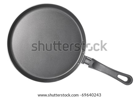 thin frying pan isolated on white