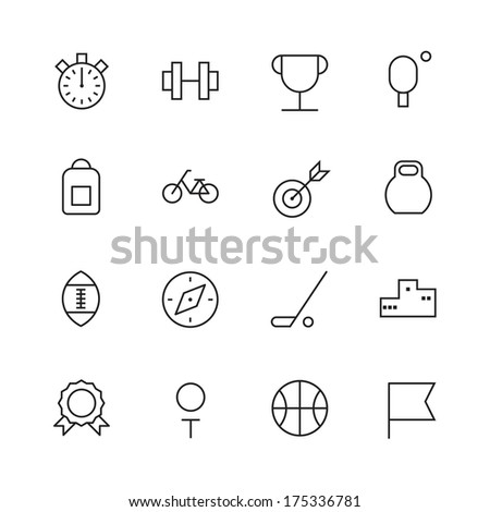 Thin Line Icons For Sport. Raster version.