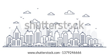 Thin line style city panorama. Illustration of urban landscape street with cars, skyline city office buildings, on light background. Outline cityscape. Wide horizontal panorama. Сток-фото ©