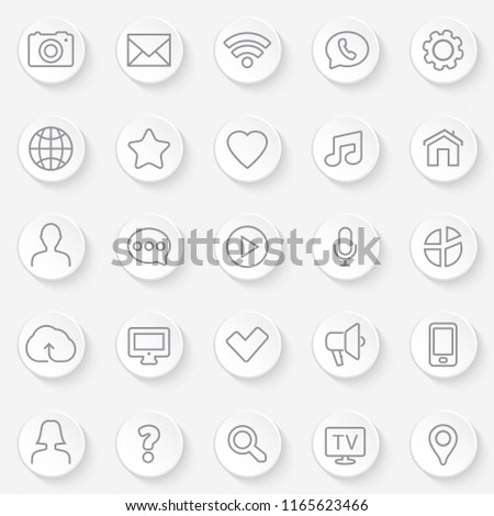 Thin lines web icons set