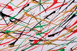 Thin red and black lines and splashes drawn on white background. Abstract art backdrop with golden brush decorative stroke. Acrylic painting with green graphic stripe.