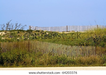 Thin slatted fences flowing on grassy hillside near the ocean