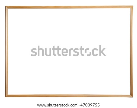 thin wooden picture frame, isolated with clipping path