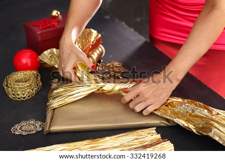 Things you need to pack gifts.Woman packs gifts, step by step