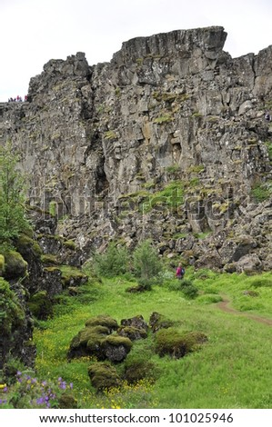 Thingvellir National park a famous area in Iceland right over the spot where the atlantic tectonic plates meets - stock photo