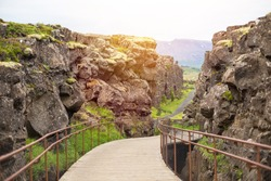 Thingvellir National Park - famous area in Iceland right on the spot where the atlantic tectonic plates meets. UNESCO World Heritage Site