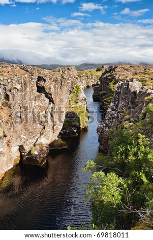Thingvellir National Park - famous area in Iceland right on the spot where the atlantic tectonic plates meets
