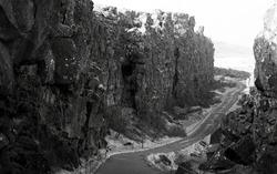 Thingvellir national park landscape in Iceland at continental divide